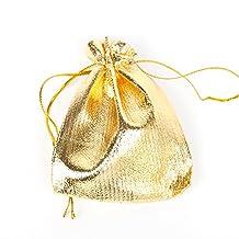 ILOVEDIY Drawable Ribbon Gold Organza Gift Bags 7x9 Small Favour Bags Pouches 30 Pcs