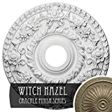 """Ekena Millwork CM18ROWHC Rose Ceiling Medallion, 18""""OD x 3 1/2""""ID x 1 1/2""""P (Fits Canopies up to 7 1/4""""), Hand-Painted Witch Hazel Crackle"""