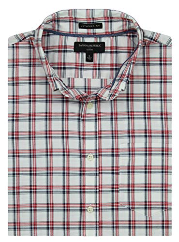 Banana Republic Men's Slim-Fit Untucked Oxford, Multiple Colors and Sizes (Medium, Red and Blue Plaid)