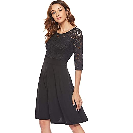 59e0253feca2 Women S Vintage Floral Lace Cocktail Party Swing Dress