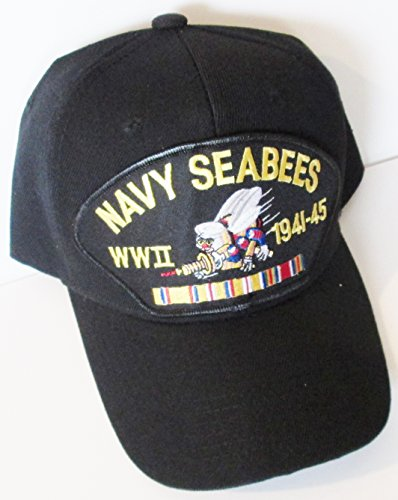 Embroidered Emblems - U.S. NAVY SEABEE WORLD WAR II CAP* W/RIBBON EMBROIDERED EMBLEM BLACK Ball Cap/ Hat