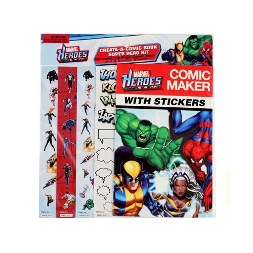 MARVEL HEROES COMIC MAKER WITH STICKERS (1 PACK - 12 PAGE COMIC - 4 STICKER SHEETS)