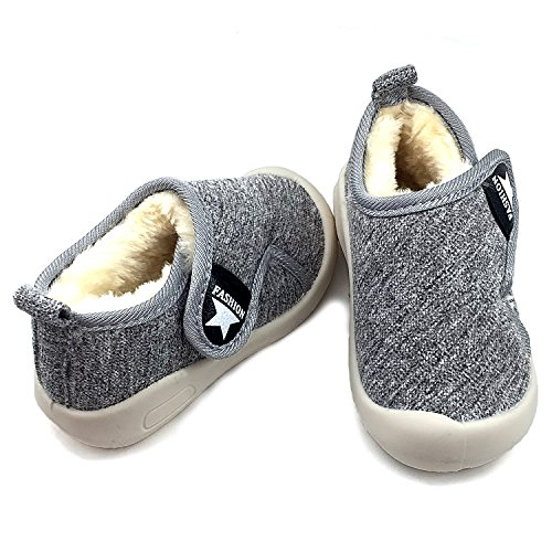 Baby Boys Girls Snow Boots Double Velcro Kids Causal Winter Shoes With Warm Fleece (6 M US Toddler, Grey-811)
