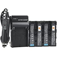 DSTE 2x NP-F970 Battery + DC01 Travel and Car Charger Adapter for Sony DCM-M1 MVC-CD1000 HDR-FX1 DCR-VX2100E DSR-PD190P NEX-FS700RH HXR-NX3 Camera as NP-F930 NP-F950 NP-F960