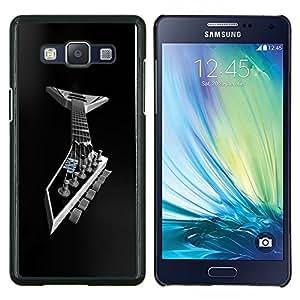 KLONGSHOP // Cubierta de piel con cierre a presión Shell trasero duro de goma Protección Caso - Guitarra del metal - Samsung Galaxy A5 A5000 //