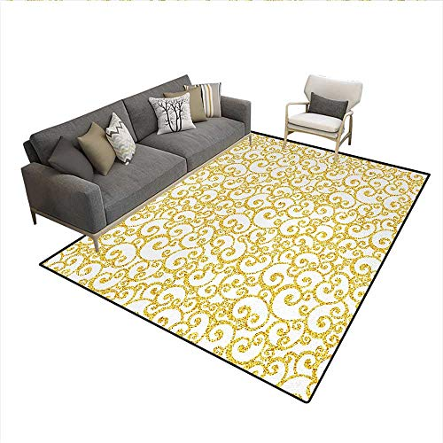 Carpet,Floral Ivy Swirls in Golden Yellow Shade Antique Motif Inspired Art Print,Customize Rug Pad,Yellow and WhiteSize:6'x8'