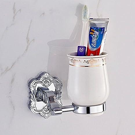 QUEENS Accesorios de baño de vidrio europeo del cobre Plata porta cepillo de dientes de cerámica