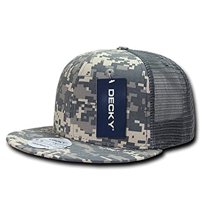 4b4b655e993 Image Unavailable. Image not available for. Color  DECKY Rip Stop Flat Bill  Trucker Cap ...