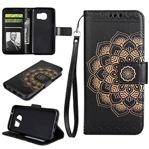 SRY-1 En relieve Half Flower Design [correa para la muñeca] Premium PU cuero billetera bolsa Flip Stand Case para Samsung Galaxy S7 ( Color : Green ) Black