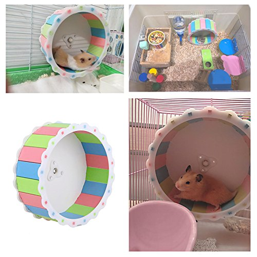 Towerin Silent Spinner Exercise Running Wheel Comfort Colorful Running Wheel Toy for Hamster Mouse Free Standing and Attach Directly Training Cage Accessory by Towerin (Image #3)