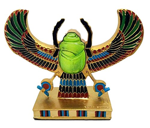 Ebros Egyptian Beautiful Winged Scarab Amulet Ankh Symbol of Rebirth Figurine Gods Of Egypt Dung Beetle Scarabs Sun God Ra Statue