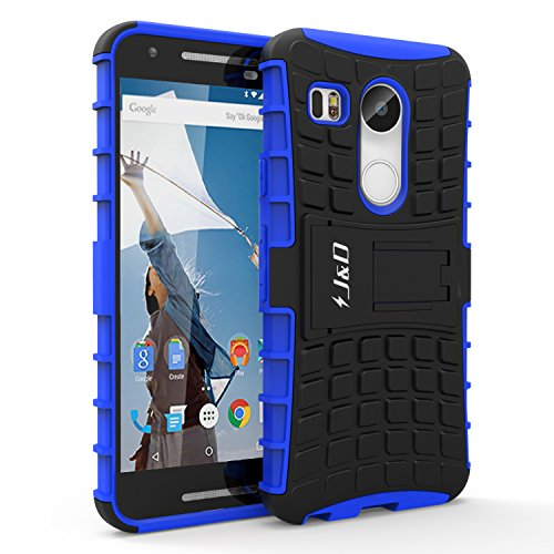 Nexus 5X Case, J&D [Kickstand] Google Nexus 5X Case [Heavy Duty] Hybrid Shock Proof Fully Protective Case for Nexus 5X (Blue)