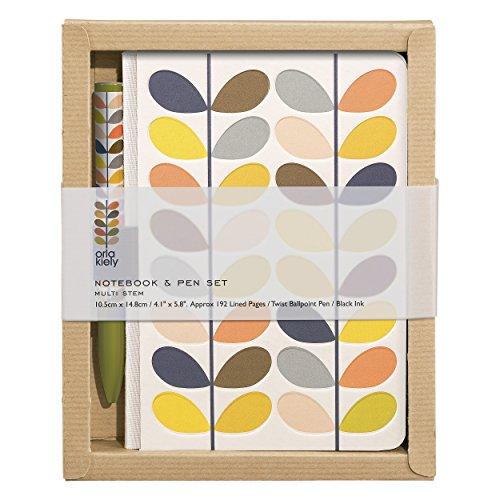 Orla Kiely | Pocket A5 Notebook and Pen Set | Multi Stem Design - Orla Kiely Stationery