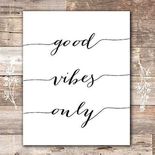 Good Vibes Only Calligraphy Art Print - Unframed - 8x10 | Inspirational Quote (Poster Print Art Cute)