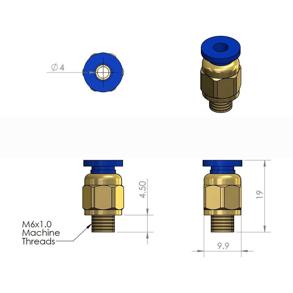 Pack de 5 PCS UEETEK PC4-M6 Raccord pneumatique droit pour 4mm OD RepRap Imprimante 3D Bowden Tubing ou autre utilisation