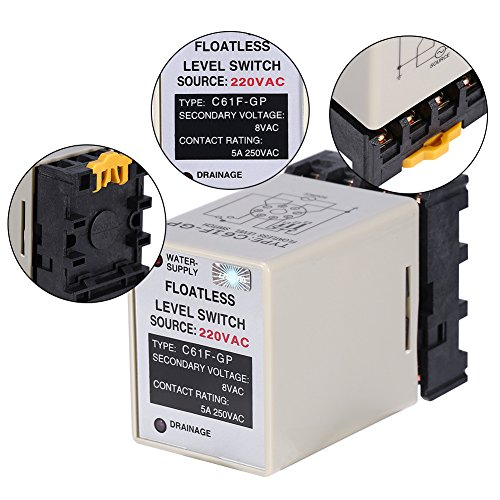 Akozon C61F-GP AC220V 50/60HZ Liquid Floatless Level Switch Controller with Base by Akozon (Image #3)