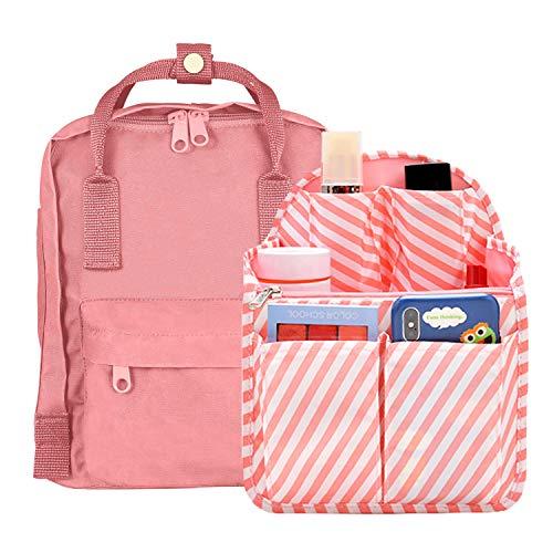 Backpack Insert Organizer Small, Pulama Cute Girl Bag In Bag Fit For Kanken Mini,Pink Stripe