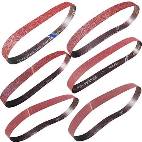 Sackorange 18 PCS 1 inch x 42 inch Abrasive Sanding Belts - 3 Each of 60 80 120 150 240 400 Grit Aluminum Oxide Sanding Belts For Belt sander(1x42in)