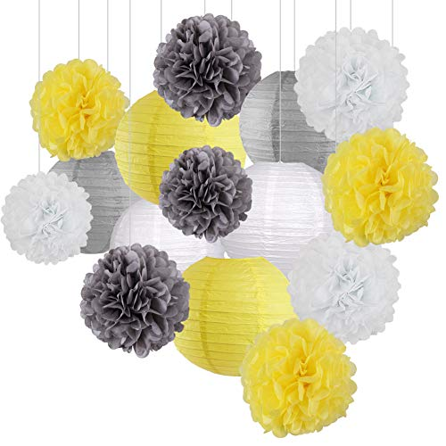 15Pcs Party Pack Paper Lanterns and Pom Pom Balls Hanging Decoration for Graduation Wedding Birthday Baby Shower-Gery/Yellow/White