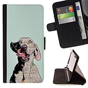 For HTC DESIRE 816 Dog Art Weimaraner Crazy Eyes Grey Beautiful Print Wallet Leather Case Cover With Credit Card Slots And Stand Function