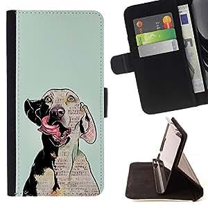 Momo Phone Case / Flip Funda de Cuero Case Cover - Arte del perro de Weimaraner Loco Ojos Gris; - Motorola Moto E ( 2nd Generation )