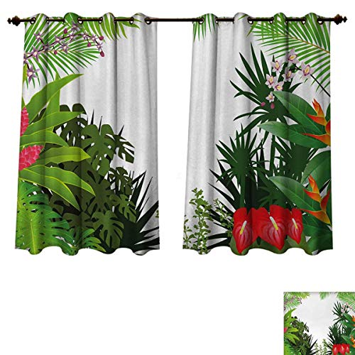 (Leaf Blackout Thermal Backed Curtains for Living Room Hibiscus Plumeria Crepe Gingers Anthurium Leaves Blossoms Image Customized Curtains Hot Pink White Red and Green W52 x L63 inch)