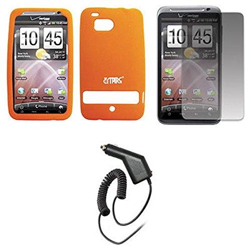 EMPIRE Orange Silicone Skin Cover Case Tasche Hülle + Displayschutzfolie Film + Auto Charger (CLA) for Verizon HTC ThunderBolt