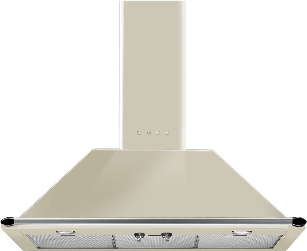 "Smeg KT90PU 36"" Wall Mount Chimney Range Hood with 600 CFM and 4 Fan Speeds, Cream"