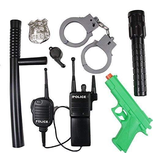 Boys Girls 7 Piece Police Officer Swat Fancy Dress Costume Kit Accessories Toy Gift Gun Baton Walkie Talkie Badge Handcuffs Whistle ()
