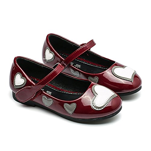 T-JULY Summer Girls Mary Jane Shoes Love Heart Ballet Flat with Strap (Toddler/Little Kid/Big Kid) Wine Red by T-JULY