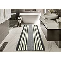 Ottomanson Softy Collection Ivory Stripes Non-Slip Kitchen/Bath Rug, 20 X 59, Gray