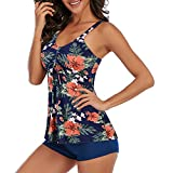 Zando Soft Bathing Suits for Women Tankini Swimsuit for Women Tummy Control with Ladies Shorts