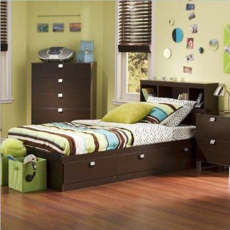 South Shore 3259B2 Twin Storage Bed and Bookcase Headboard, Chocolate