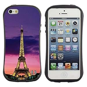 "Pulsar iFace Series Tpu silicona Carcasa Funda Case para Apple iPhone 5 / iPhone 5S , Torre Arquitectura Luces cielo nocturno de París"""
