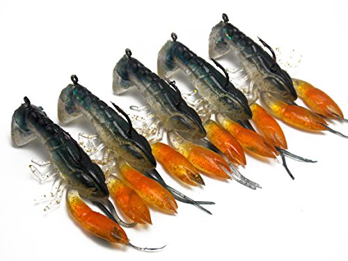 (CATCHSIF 5PCS Inner Shaky Head jig Tail Soft Craw baits 3D scan of Actual)