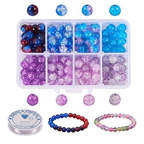 PH PandaHall About 240pcs 8 Color Blue Series 8mm Handcrafted Crackle Lampwork Glass Round Beads Assortment Lot with Crystal Elastic Thread for Jewelry Making (0.8mm; 5m/roll)