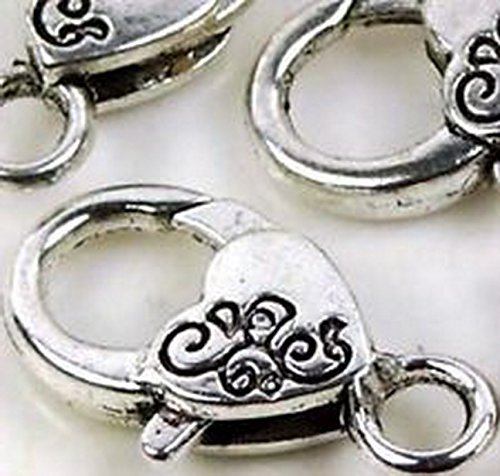 Burts Beads - 26x12mm Large Silver Pewter Lobster Claw Clasps 5 beads Lead-Free (Pugster Silver Brooch)