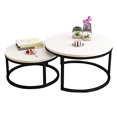 Amazon.com: Set of 2 Round Nesting Coffee Table Sofa Side ...