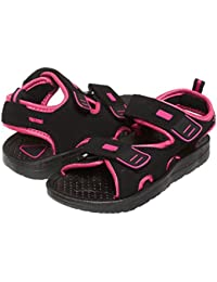 Girls Double Velcro Adjustable Strap Lightweight Sandals Grey & Pink (See More Colors and Sizes)