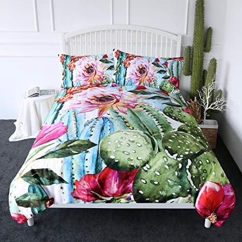 ARIGHTEX Cactus Duvet Cover Set Boho Style Succulent Flowers Bedding Green Plants Bed Comforter Cover Sets 3 Piece Exotic Natural Vintage Watercolor Pattern Bed Spreads (Twin) (Bedding Sets Vintage Style)