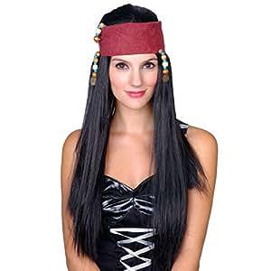 Peluca para mujer de Piratas del Caribe con cinta