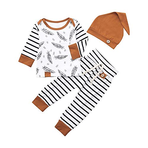 FEITONG Baby Boy Girl 3Pcs Pants Set Feather T Shirt Tops+Striped Pants+Hat Clothes Outfits(White,12-18M)