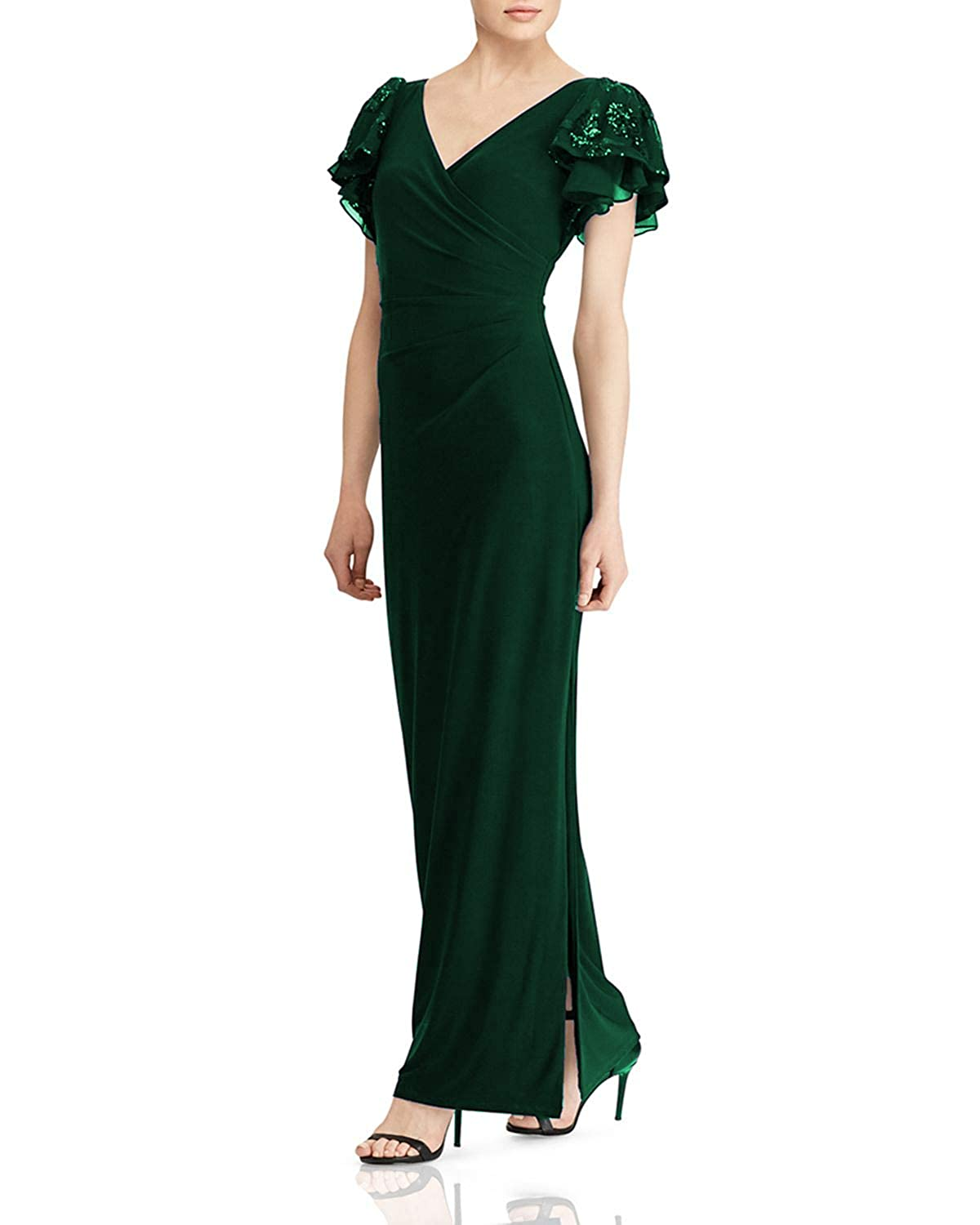 Dark Green Wanshaqin Women's Embellished Flutter Caps Sleeves Evening Formal Gown Wedding Party Dress Pleated VNeck
