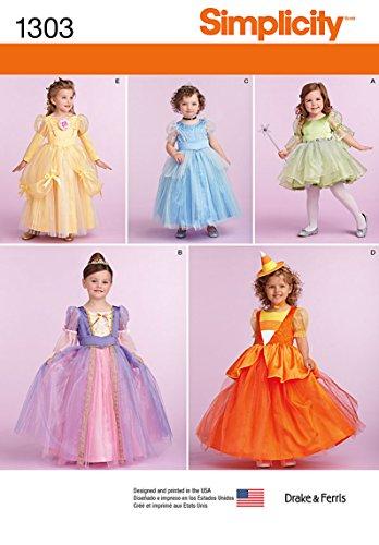 Costume Pattern Fairy (SIMPLICITY 1303 TOODLER / GIRLS' PRINCESS, FAIRY, WITCH COSTUMES (SIZE 1/2 - 2) SEWING)