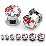 PiercingJ Mens Womens Pair Punk Stainless Steel Screw Tunnels Ear Expander Stretcher Piercing Gauge (Chinese Peony)