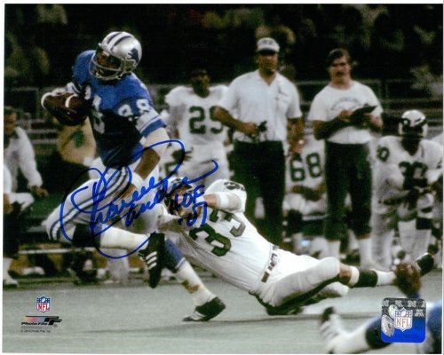 Charlie Sanders Autographed Detroit Lions 8x10 Photo #7 - Running with the Football