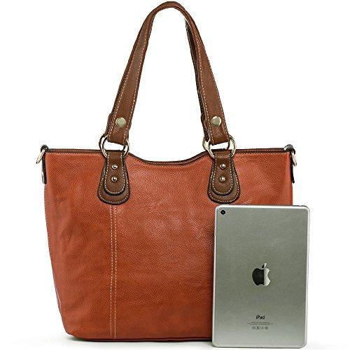 UTAKE Handbags for Women Top Handle Shoulder Bags PU Leather Tote Purse Meduim Size Orange by UTAKE (Image #2)