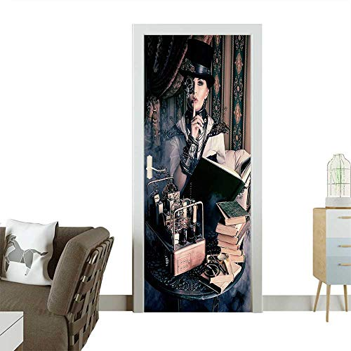 Door Sticker Wall Decals Portrait of Steampunk Woman with Medieval Vintage Style Outfit Historic Fashion Art Photo Easy to Peel and StickW32 x H80 INCH ()