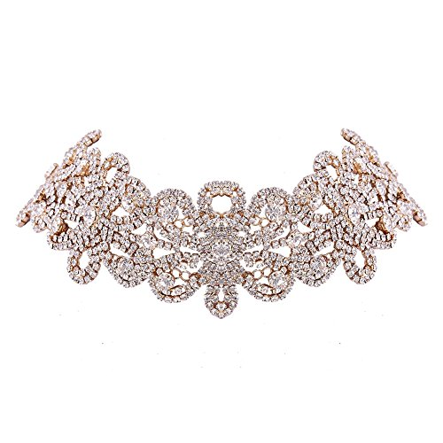 XY Fancy Women Fashion Jewelry Full Rhinestone Flower Choker Necklace Charming Clavicle Chain Gold (Crystal Wedding Choker Necklace compare prices)