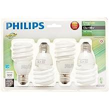 Philips 417071 Energy Saver Compact Fluorescent 13-Watt T2 Soft White Twister Household Light Bulb, 4-pack
